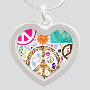 Peace Paisley Collage Silver Heart Necklace