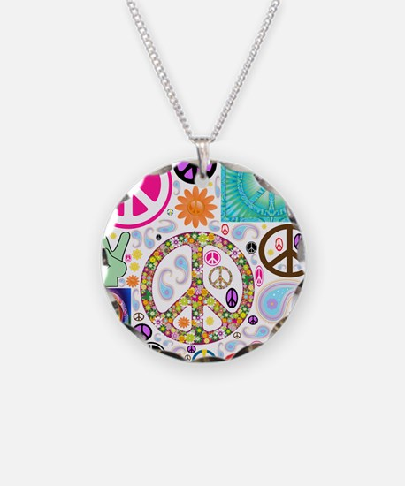Peace Paisley Collage Necklace