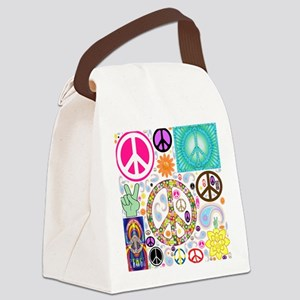 Peace Paisley Collage Canvas Lunch Bag