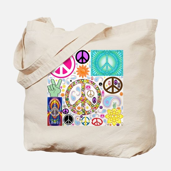 Peace Paisley Collage Tote Bag