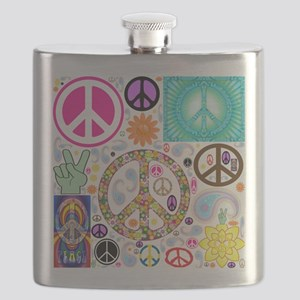Peace Paisley Collage Flask