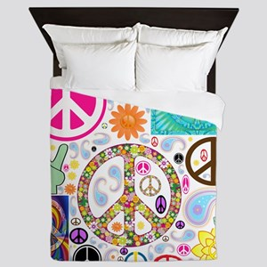Peace Paisley Collage Queen Duvet