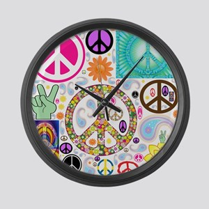 Peace Paisley Collage Large Wall Clock