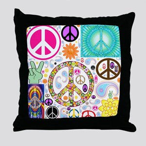 Peace Paisley Collage Throw Pillow