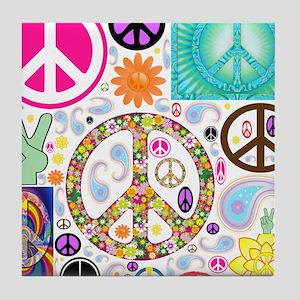 Peace Paisley Collage Tile Coaster