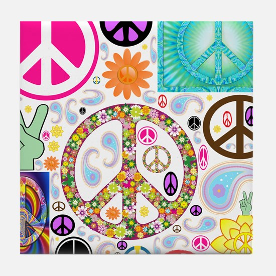 Peace Paisley Collage Tile Coaster