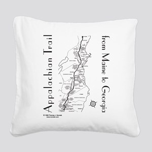 Appalachian Trail Map Square Canvas Pillow