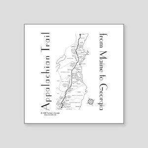 "Appalachian Trail Map Square Sticker 3"" x 3"""
