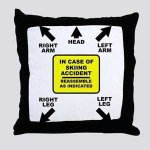 Reassemble Skiing Ski Funny T-Shirt Throw Pillow