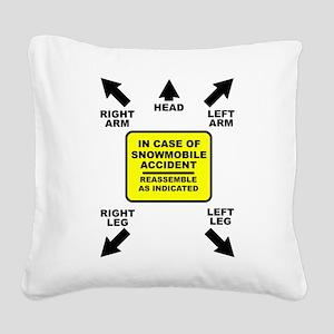 Reassemble Snowmobile Funny Square Canvas Pillow