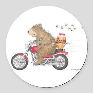 Honey on the Run Round Car Magnet