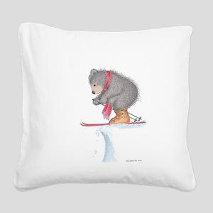 To Ski or Not to Ski Square Canvas Pillow