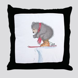 To Ski or Not to Ski Throw Pillow