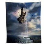 Surreal Castle Waterfall Wall Tapestry