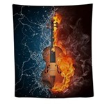 Fire And Water Violin Wall Tapestry