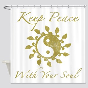 Yin Yang 'Keep Peace' Shower Curtain