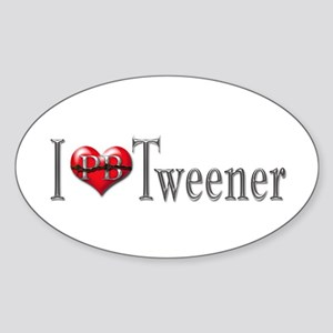 I heart Tweener Oval Sticker
