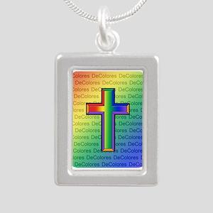 De Colores Cross Silver Portrait Necklace
