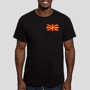 Flag of Macedonian Men's Fitted T-Shirt (dark)