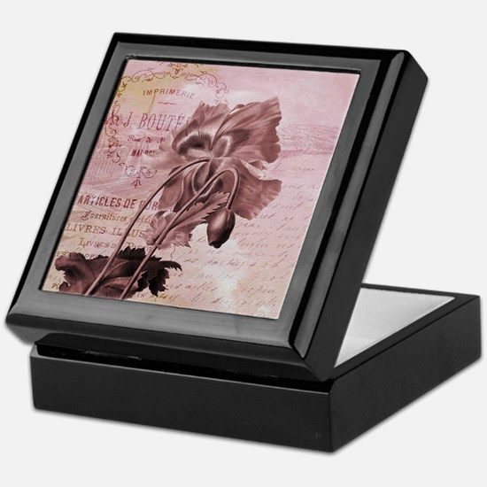 French Pink Poppy Keepsake Box
