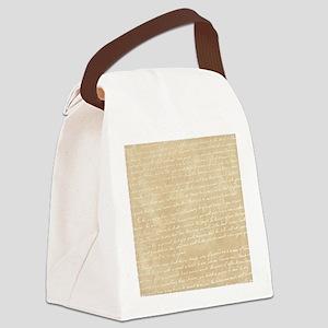 Vintage Script Canvas Lunch Bag