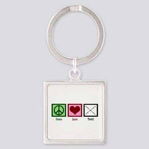 Peace Love Twirl Square Keychain
