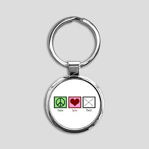 Peace Love Twirl Baton Round Keychain