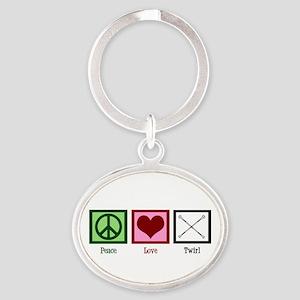 Peace Love Twirl Oval Keychain