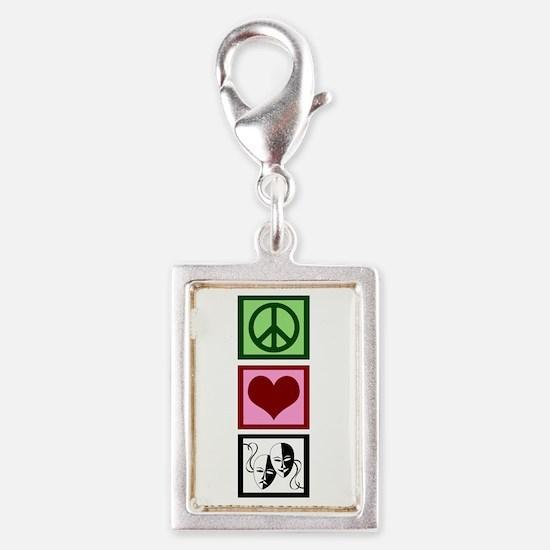 Peace Love Theatre Silver Portrait Charm
