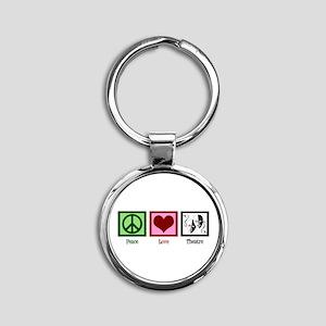 Peace Love Theatre Round Keychain