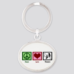 Peace Love Theatre Oval Keychain
