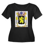 Barenholz Women's Plus Size Scoop Neck Dark T-Shir