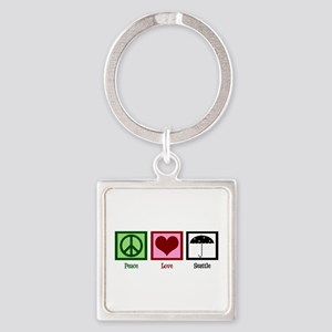 Peace Love Seattle Square Keychain