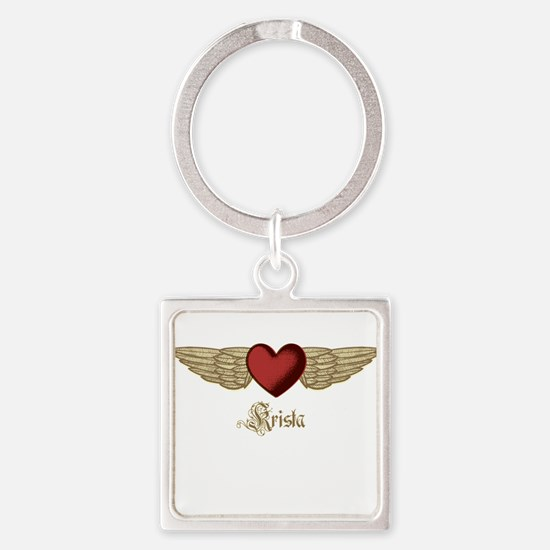 Krista the Angel Square Keychain