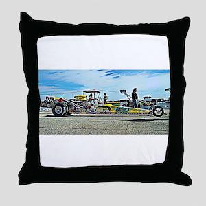 Team Crank Racing dragster Throw Pillow