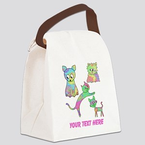 Colorful Cats, Custom Text. Canvas Lunch Bag