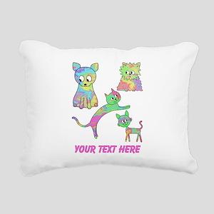 Colorful Cats, Custom Text. Rectangular Canvas Pil