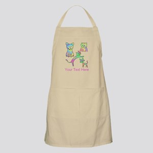 Colorful Cats, Custom Text. Apron