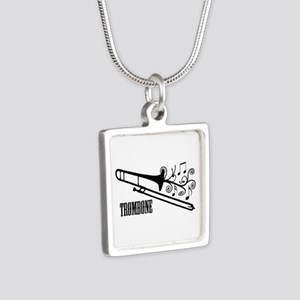 Trombone swirls Silver Square Necklace