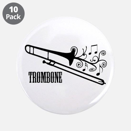 "Trombone swirls 3.5"" Button (10 pack)"