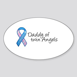 Daddy of Twin Angels Oval Sticker