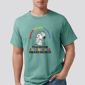 Snoopy Reading Writing Mens Comfort Colors Shirt