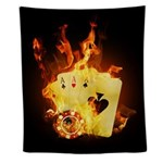 Burning Poker Cards Wall Tapestry