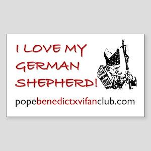 I Love My German Shepherd Rectangle Sticker