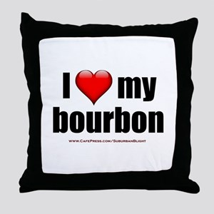 """I Love My Bourbon"" Throw Pillow"