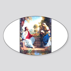 Jesus at the Well Oval Sticker