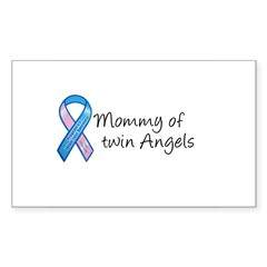 Mommy of Twin Angels Rectangle Decal