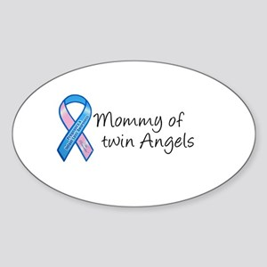 Mommy of Twin Angels Oval Sticker