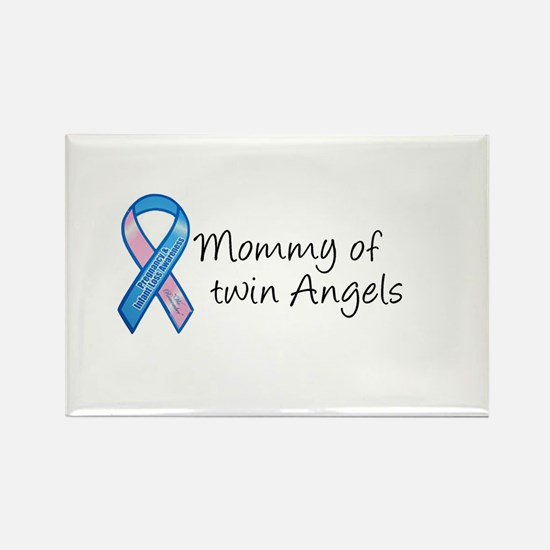 Mommy of Twin Angels Rectangle Magnet