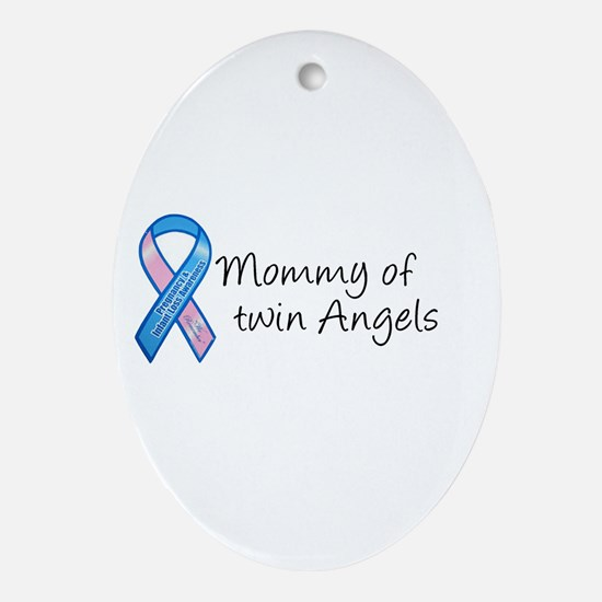 Mommy of Twin Angels Oval Ornament